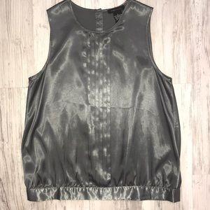 BCBG MaxAzria shimmer gray blouse w diamond botton